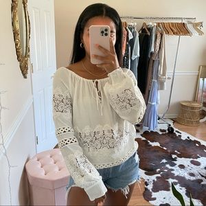 For Love and Lemons White Eyelet Lace Blouse S